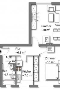Wohnung vom Typ 3